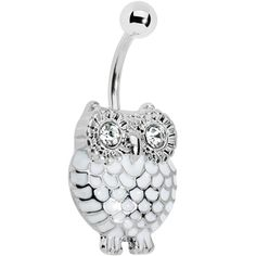Crystalline Gem White Feathered Owl Belly Ring #piercing #owl #bellyring $6.99