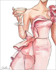Blush Toast (print). Elegant Dress #Drink / Brindisi in Cipria. Vestito elegante #Cocktail - Art by #Inslee Haynes