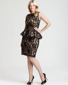Tadashi Shoji Plus Peplum Dress - Sleeveless Lace | Bloomingdale's