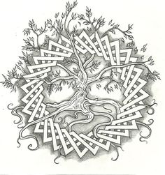 Celtic Tree of Life by vizualassassin Celtic Tattoo Styles Designs - for you laura p Celtic Patterns, Celtic Designs, Oroboros Tattoo, Celtic Tree Of Life, Mandalas Drawing, Zentangles, Wood Burning Patterns, Celtic Tattoos, Tribal Tattoos