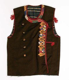 Vest.  Date: 20th century. Culture: Slovak. Medium: wool, cotton. Dimensions: Length at CB: 18 1/2 in. (47 cm).