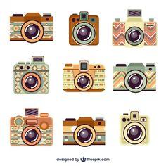 Retro Cameras Collection Free Vector