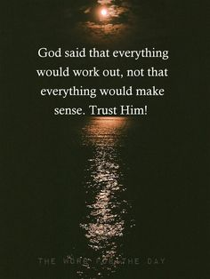 Trusting God is the only way I can handle my loss.