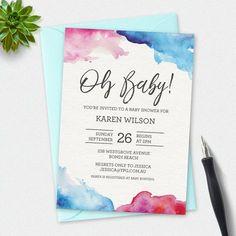 Baby shower invitation, gender neutral invitation, watercolor Invitation, custom invitation, printable invitation, elegant invitation, twins