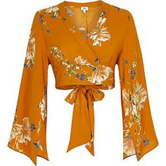 Orange floral wrap kimono sleeve crop top