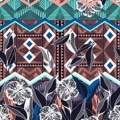 Graphic Tropic by Victoria Krupp - Tropical Pattern_Limited Colors_Graphic Pattern_Handdrawn_Mix Tribal_Simple_Stylized Floral Graphic Patterns, Print Patterns, Surf Wear, Tropical Pattern, Repeating Patterns, Exotic, How To Draw Hands, Royalty, African