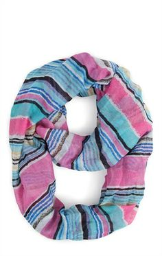 Deb Shops Woven Infinity #Scarf with Multicolored Stripe Pattern $14.00