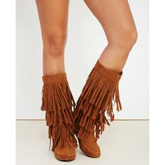 Yoki Shoes  Fringe Tiered Tall Moccasin Boots ($40) ❤ liked on Polyvore featuring shoes, boots, cognac, mid-calf boots, wet seal, tall fringe boots, wet seal boots, faux suede boots, moccasin boots and knee high fringe boots