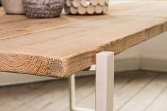 PURE wood design industriële tafel steigerhout zwevend blad/stalen frame - PURE Wood Design