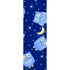 Fleece Owl Print Fabric, 3-77, Dark Blue