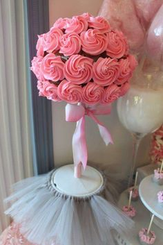 Pretty decoration at a tutu cute baby shower party! See more party planning ideas at CatchMyParty.com!