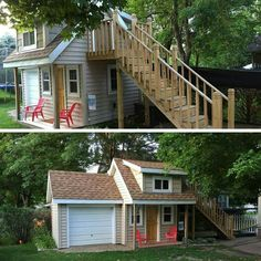 Two story playhouse with garage