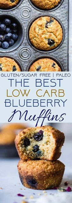 The BEST Low Carb, Sugar Free Blueberry Muffins - SO moist and tender, you'll never believe they are gluten/grain/dairy/sugar free and keto friendly! Perfect for breakfast or snacks for kids OR adults!   #Foodfaithfitness   #Lowcarb #Healthy #Glutenfree #Keto #Sugarfree #healthysnacksforkids