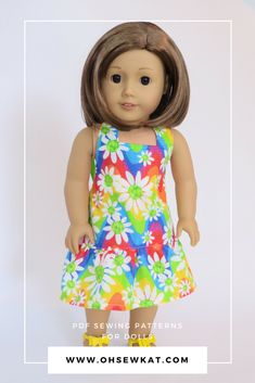 Halter Maxi Sundress sewing pattern for American Girl dolls like Julie by Oh Sew Kat. Boardwalk Boutique halter top and carpris. Easy to sew PDF patterns for doll clothes.