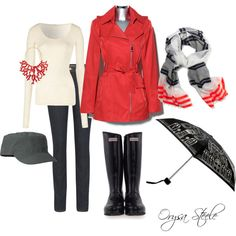 raincoat, rainboots, hat, scarf, sweater, umbrella