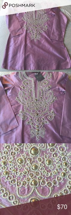 NWT SACHIN +BABI Ankasa Lavender Silk Tunic XS BNWT Gorgeous thick silk lavender purple tunic with amazing cream threading and Gorgeous heavy metal silver beads sewn in front. Round neck with center slit. 3/4 length sleeves. IMMACULATE CONDITION. Please see exact same tunic in bright Turquoise in my closet  :) Anthropologie Tops Tunics