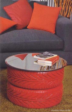 Man Cave design on a budget! Painted and repurposed tire ottoman or coffee table. - My Interior Design Ideas Painted Furniture, Diy Furniture, Repurposed Furniture, Bedroom Furniture, Furniture Design, Apartment Furniture, Reuse Old Tires, Recycled Tires, Reuse Recycle