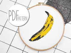 BANANA Wanna have something sweet & fruity? Tropical, ecotic, juicy and seductive? A cross stitched Pop-Art quote? Well then you have to go banana. ● ● ● Design size on 14 count fabric: 14,4 x 17,2 cm / 5,7 x 6,8 inch Difficulty: Medium ⚫⚫⚪ Colors: 6 Grid: 78 x 93 Stitches: Full
