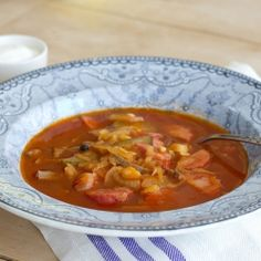 Solyanka Soup, Estonian Style - A simple and quick tomato and onion soup with sausages and pickles. Unusual flavor combination, but really delicious!