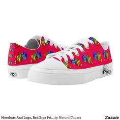 Meerkats And Logo, Red Zipz Printed Sneakers. Printed Shoes