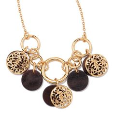 Wood-like accents add a naturally stylish look to this goldtone collar necklace with small, medium and large Links that hold wood look and goldtone filigree discs. Regularly $19.99, buy Avon Jewelry online at http://eseagren.avonrepresentative.com