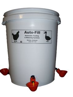 "Note: You must fill this waterer manually. Virtually ELIMINATES cleaning of water source.no more ""poop in the pan"" with our Auto-Fill Chicken Watering System. gallon Food Grade bucket (No BPA's / No Lead). Chicken Watering System, Chicken Water Feeder, Automatic Chicken Waterer, Food Grade Buckets, Chicken Nesting Boxes, Filling System, Organic Chicken, Poultry, Bird"