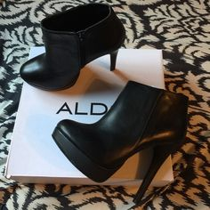 "ALDO black leather 5.5""heal 1""platform short boots ALDO NYDIREN-97 blk leather boot ALDO Shoes Ankle Boots & Booties"