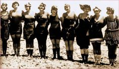 The trends from a decade earlier continued into the 1920's. Women continued to wear swimsuits made of wool that were shapeless and covered most of the body. In addition, they wore stockings to cover their legs.