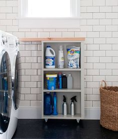 10 Projects & Products to Fill Awkward Appliance Gaps-- Next to the bathroom sink! Laundry Room Storage, Laundry Room Design, Storage Room, Storage Shelves, Laundry Cart, Room Organization, Storage Ideas, Shelf, Doing Laundry