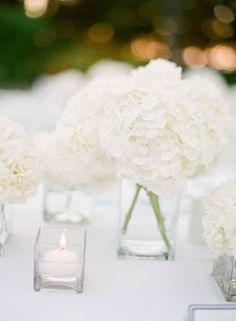 White Hydrangeas Wedding Centerpiece