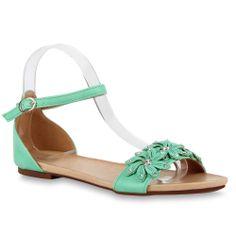 Trendy Damen Sandalen Flache Sommer Schuhe Blumen Strass 71480 | eBay    Haben die selbe Farbe wie das kurze Kleid ♥