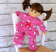 Kawaii Kittens Flannel Babydoll Pajamas Bitty by SewFunDollClothes