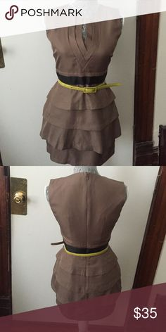 Cute army green dress w/ yellow belt!!👗💋 Adorable army green 4 tiered mini dress with yellow belt. It's in excellent condition only worn once!!!!! Twelve by Twelve  Dresses Mini