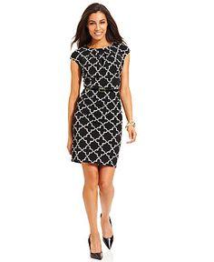 Charter Club Dress, Cap-Sleeve Geometric-Print Belted Sheath - Charter Club Dresses - Women - Macy's