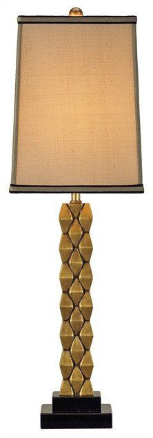 FREE SHIPPING IN THE US. USE CODE LOVE10OFF FOR 10% OFF YOUR ENTIRE PURCHASE.  The Debonair Table Lamp features a multi-faceted cast Brass base set atop a square tiered Black granite base. The lamp is crowned by a square Beige Shantung shade with gold lining and trim overlay.  Product Name: Debonair Table Lamp Dimensions: 30h x 9w Number of Lights: 1 Shades: Antique Gold Shantung 8/8x9/9x12