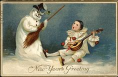 Postmark/Cancel:1911 Dec-30 West Somerville, MA Snowman and Man Playing Lute
