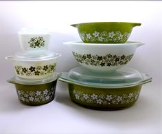 10 Piece Set of Vintage Pyrex Spring Blossom Crazy Daisy Bowls. $89.99, via Etsy.