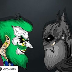 """I love the great edits  #Repost @elrokk86 with @repostapp ・・・ Time I face the Joker once again.compiled both my design together.bearded joker V bearded…"""