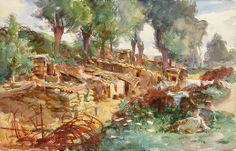 John Singer Sargent (1856 — 1925, USA) The Sunken Road Ransart. 1918 watercolour on paper. 34.2 x 52.7 cm.