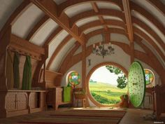I really want to live in a hobbit house. A taller version of a hobbit house. Casa Dos Hobbits, Round Door, Middle Earth, The Hobbit, Hobbit Door, Hobbit Land, My Dream Home, Tiny House, House Inside