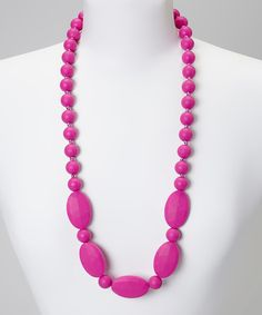 Take a look at the Hot Pink Flat & Round Bead Teething Necklace - Women on #zulily today!