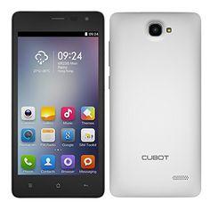 "CUBOT S168 MTK6582 - Smartphone libre Android (Quad Core 4.4 w / 5.0"" IPS 8 GB ROM GPS OTA), color blanco + carcasa de cuero blanco(Enchufe de UK)"