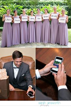 Fun pre-ceremony idea with bridesmaids and groom. Unique wedding photos!  the-woodlands-wedding-photographer-chapel-in-the-woods-woodlands-country-club-shelby-travis14