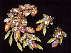 Vintage Nugget Lava Rhinestone Brooch Earrings by darsjewelrybox