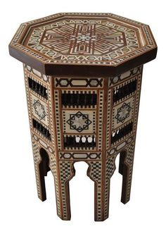 Moroccan Mother Of Pearl Mosaic Inlaid Wood Coffee Side Table #2
