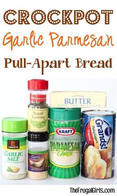 Crockpot Garlic Parmesan Pull-Apart Bread Recipe From The Perfect Casy Slow Cooker Party Appetizer Or Delicious Dinner Side Crock Pot Food, Crockpot Dishes, Crock Pot Slow Cooker, Slow Cooker Recipes, Crockpot Recipes, Cooking Recipes, Crock Pots, Freezer Recipes, Appetizer Crockpot