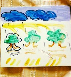 Valentina, 5 years old, made this picture of clouds raining on trees and was our Artist Of The Day on 10/28/2012. #kidart #weather #nature