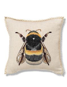 Bumblebee Embroidered Cushion
