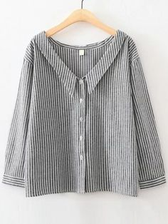 Black Vertical Striped V Neck Button Up Blouse | WithChic