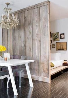 Wood Wall Design, Metal Wall Decor, Bed In Living Room, Cottage Living, Movable Walls, Luxury Decor, Home Office Decor, Cozy House, Farmhouse Decor